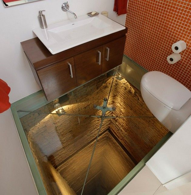 Glass bottom bathroom