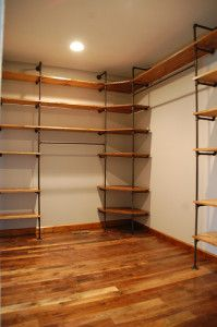 Closet shelving made from pipes